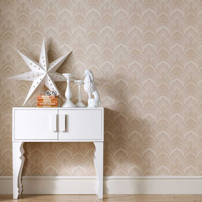 Archiv Wallpaper Dowida light brown beige shimmer Room View