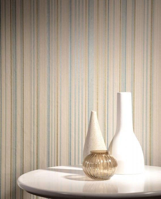 Wallpaper Merletto Shimmering pattern Matt base surface Stripes Light beige Cream Gold Pastel turquoise Turquoise