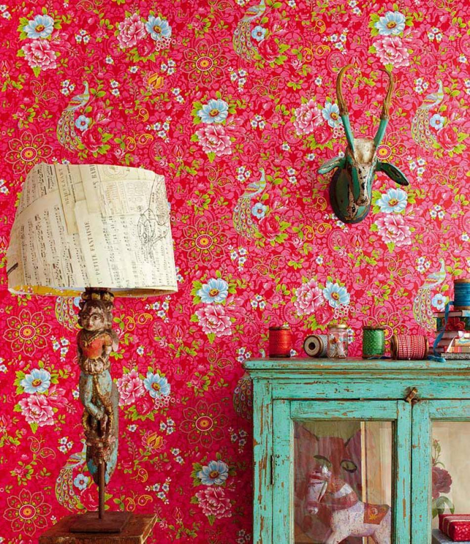 papier peint ludmilla rouge fraise vert jaune bleu clair blanc papier peint des ann es 70. Black Bedroom Furniture Sets. Home Design Ideas