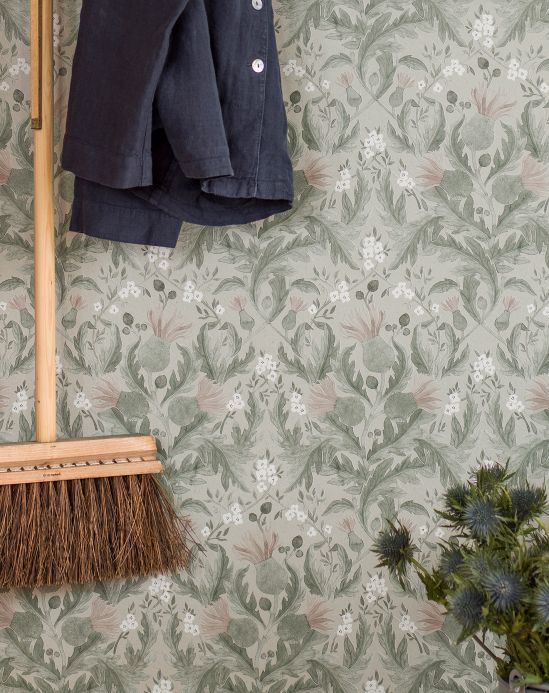 Vintage wallpaper Wallpaper Belle pine green Room View