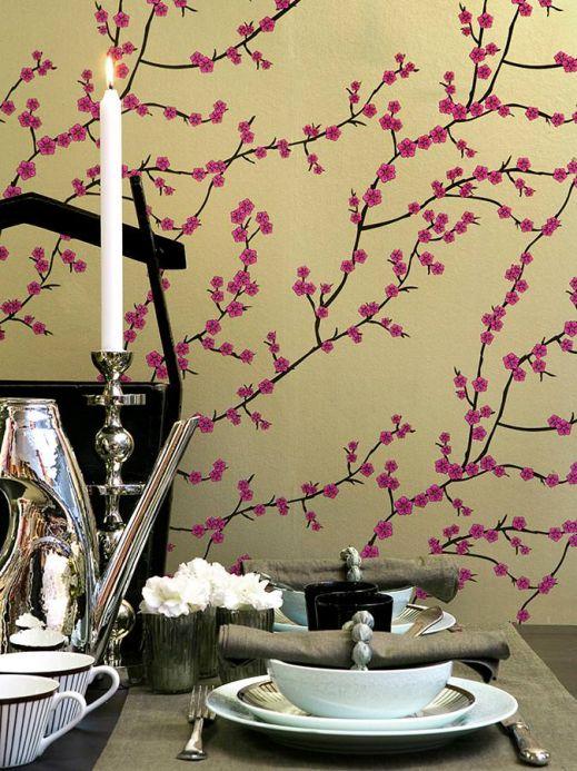 Botanische Tapeten Tapete Kyoto Gold Schimmer Raumansicht