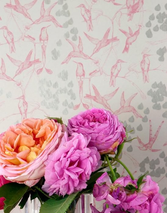 Papel de parede Rainbirds Mate Flores gavinhas Pássaros Branco creme Violeta avermelhado  Cinza prateado brilhante
