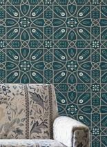 Carta da parati Frieda Disegno brillante Superficie di base opaca Damasco floreale Elementi grafici Foglie stilizzate Fiori stilizzati Blu oceano Beige Verde pallido Grigio silice Beige perlato