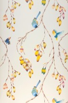 Wallpaper Francine Matt Butterflies Birds Branches with leaves and blossoms Cream Blue Brown Yellow Light orange Red violet