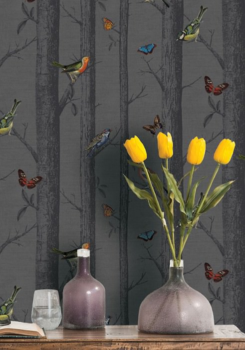 Wallpaper Rovoloni Matt Trees Butterflies Birds Grey Blue Brown Shades of green Red orange