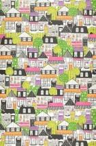 Wallpaper Onsen Matt Trees Houses White Green Orange Black Violet