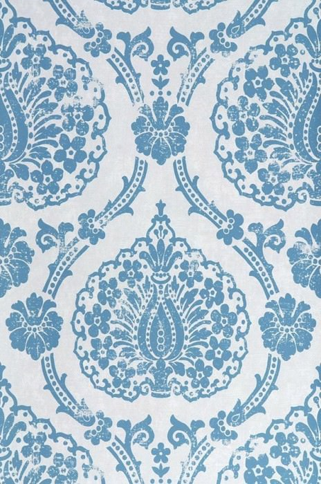 Papel de parede Fidelia Mate Damasco barroco Branco acinzentado Azul