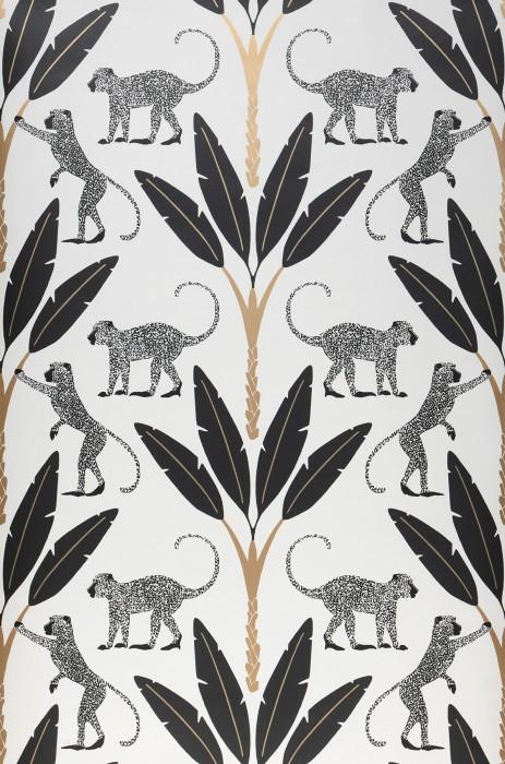 Papier peint Odette Mat Singes Art Déco Feuilles de bananier Blanc Or nacré Noir