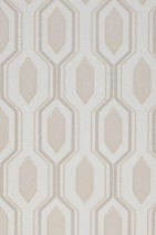 Wallpaper Marais Matt Hexagons Cream Beige Beige grey shimmer Grey beige shimmer