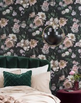 Wallpaper Sianna Matt Leaves Blossoms Black green Cream Dark green Light yellow Pale pink