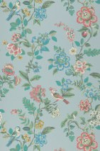 Wallpaper Miri Hand printed look Matt Flower tendrils Birds Pastel turquoise Beige Blue Pastel green Red Turquoise blue