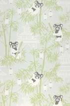 Wallpaper Bambu Hand printed look Matt Bamboo leaves Buildings Lanterns Panda bears Grey white Cream Dark grey Fern green