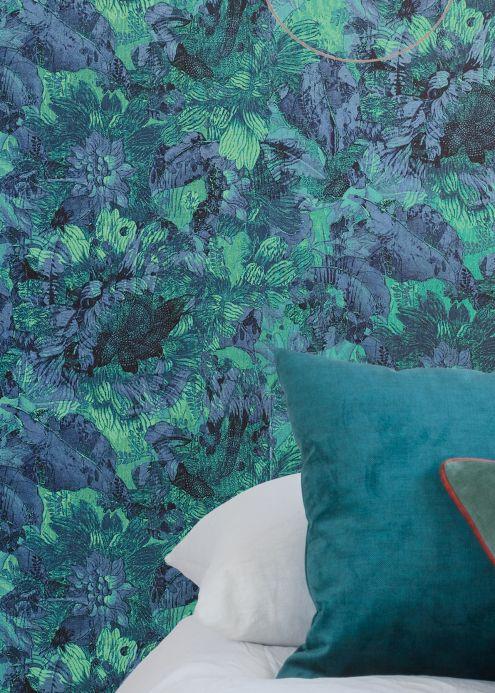 Papel pintado floral Papel pintado Hanna azul perla Ver habitación