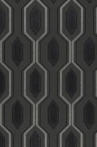 Wallpaper Marais Matt Hexagons Anthracite grey Black shimmer Silver grey shimmer