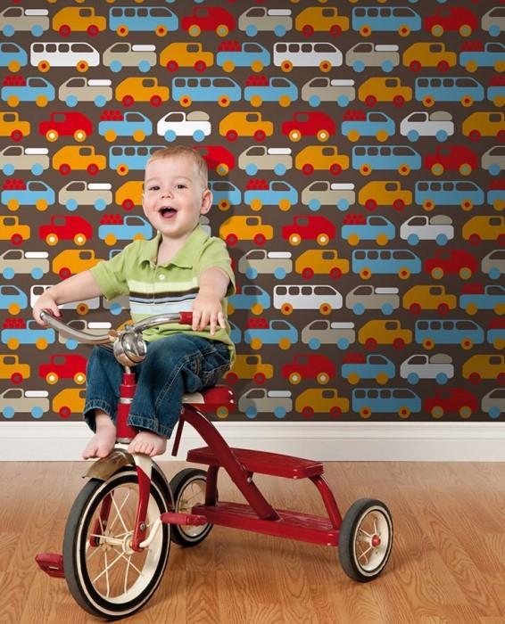 Wallpaper Bruno Matt Cars Sepia brown Beige Light blue Orange Red White