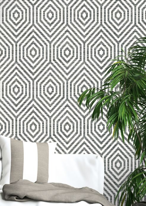 Geometric Wallpaper Wallpaper Cyrus black Room View
