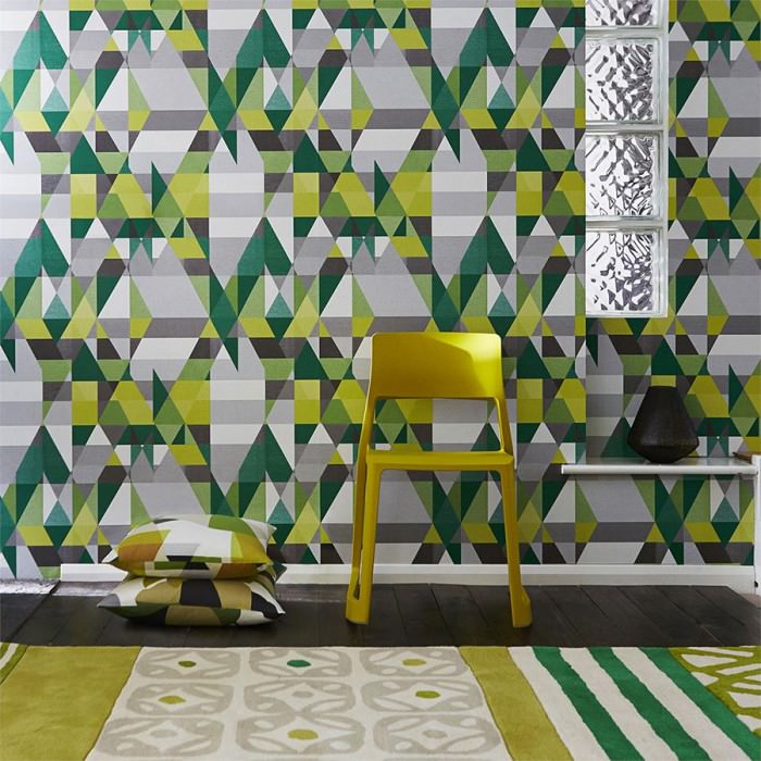 Wallpaper Zewana Matt Geometrical elements Dark grey Yellow green Green Green yellow Light grey White
