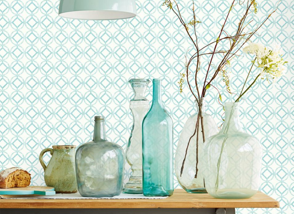 Scandinavian Wallpaper Wallpaper Larmuss mint turquoise Room View