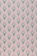 Carta da parati Florence Effetto stampato a mano Opaco Damasco art nouveau Fiori stilizzati Bianco crema Grigio antracite Beige grigiastro Rosa chiaro