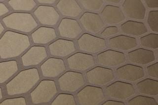 Papel pintado Pusan Patrón mate Superficie base brillante Elementos gráficos Hexágonos Marrón oro Marrón pálido