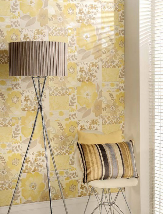 Wallpaper Farina Matt Flowers Pale sand yellow Cream Grey white Beige Grey beige Sand yellow Silver