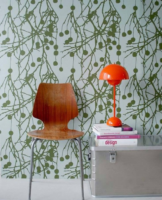 Wallpaper Tree Bomb Matt Branches with fruit Green white Reed green