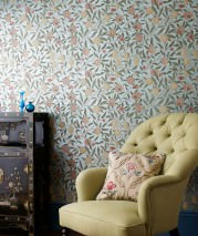 Wallpaper Sani Matt pattern Shimmering base surface Leaves Blossoms Fruits Pastel turquoise pearl lustre Beige red Pale brown Cream Green beige Mint grey Olive yellow