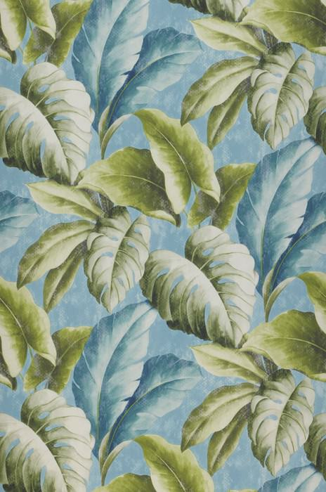 Wallpaper Verena Matt Leaves Pastel blue Blue white Fern green Green white Ocean blue