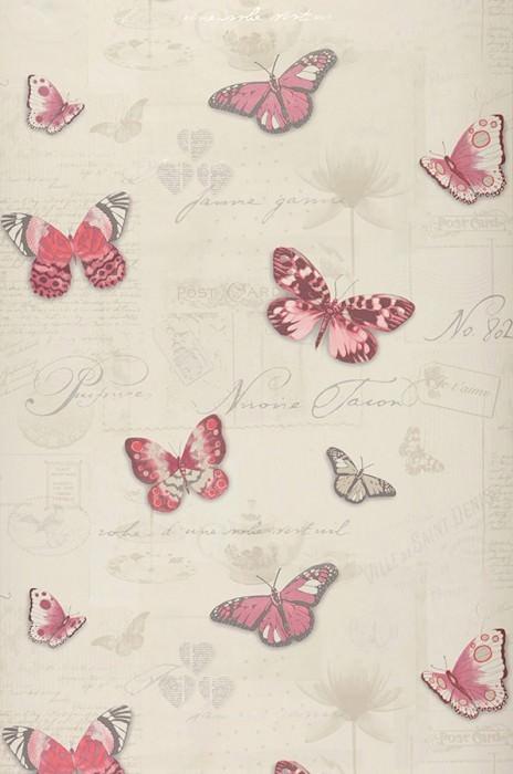 Wallpaper Bodola Matt Blossoms Porcelain Butterflies Words Light ivory Beige Pale red violet Orient red Rose Silver shimmer