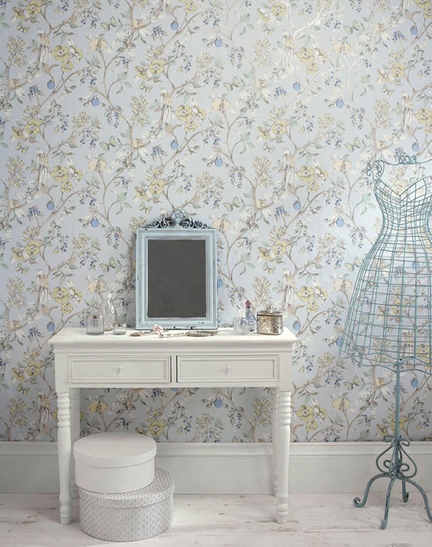Erviti bleu clair p le beige gris beige gris brillant - Papiers peints des annees 70 ...