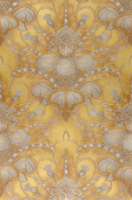 Papel pintado Malsumi Brillante Damasco art nouveau Oro Beige perla Oro perla Gris plateado