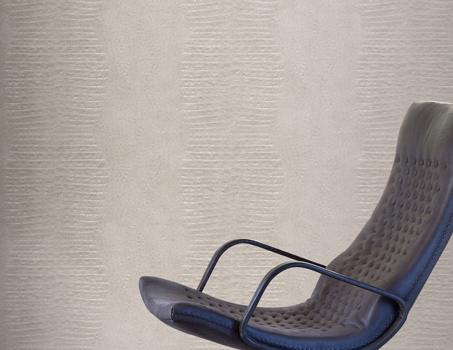Wallpaper Gavial Matt Imitation leather Cream Light grey Silky grey