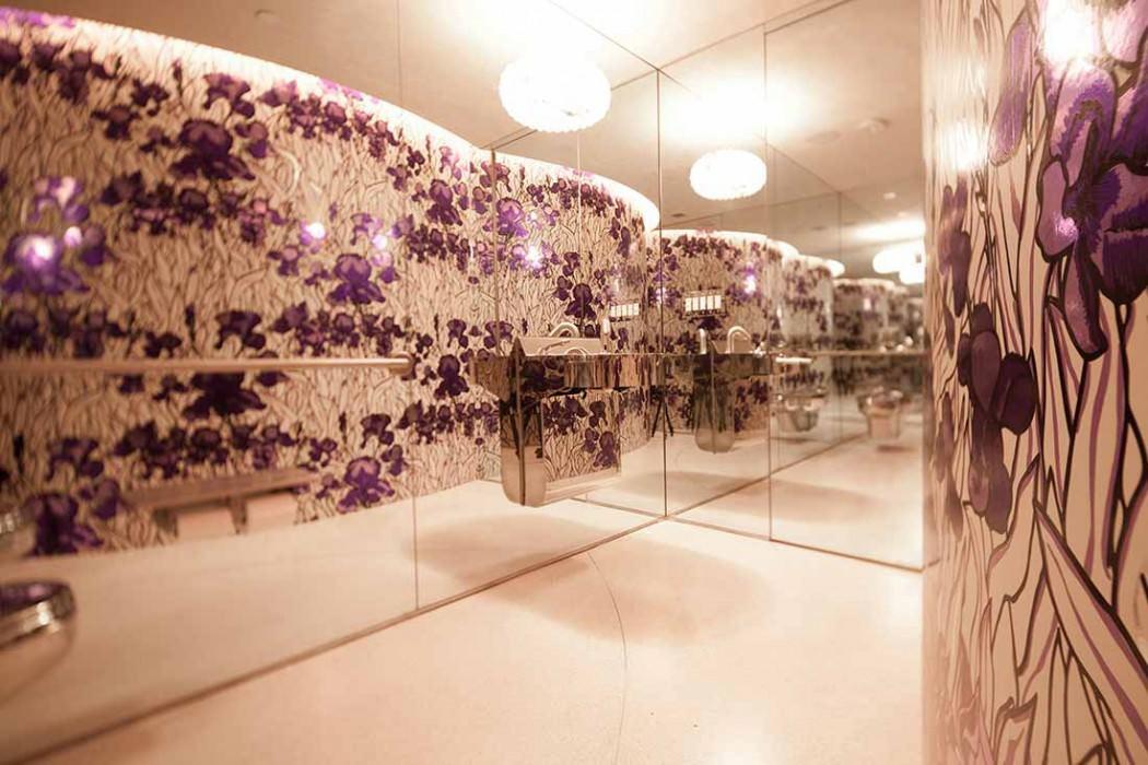 Papel de parede Iris Efeito cromado Brilhante Lírios Branco creme Cromado lustre Violeta pastel Violeta preto Violeta