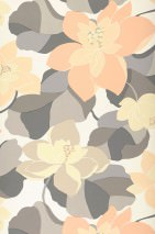 Wallpaper Adarna Matt Leaves Flowers Blossoms Cream Beige grey Pale orange Ivory Grey Light grey beige Salmon