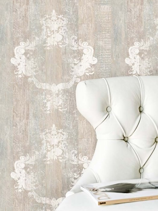 Wallpaper Vintage Matt Shabby chic Baroque damask Brown beige Grey White