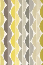 Wallpaper Esus Matt Wavy pattern Cream Beige grey Yellow green Grey Grey beige Green yellow
