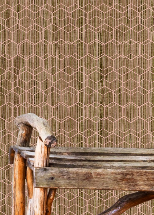 Wallpaper Gedes Matt Grasscloth Imitations Hexagons Beige Beige brown Reed green Light pink