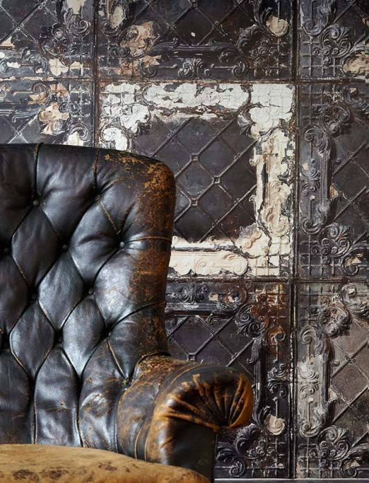 Wallpaper Brooklyn Tins 07 Matt Shabby chic Imitation enameled iron tiles Brown white Dark grey Grey Grey brown Copper Black grey