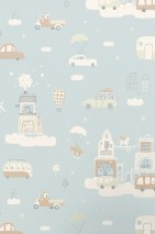 Wallpaper Above the clouds Hand printed look Matt Cars Buildings Clouds Light blue Pale brown Cream Pastel green