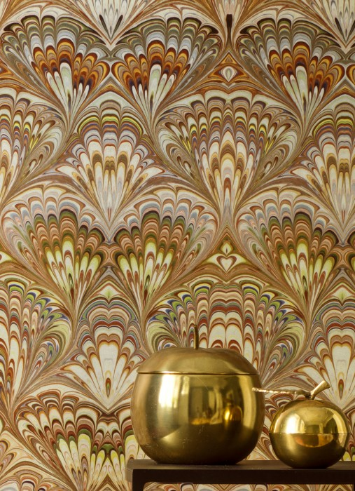 Wallpaper Manalle Shimmering Hypnotic Elements Brown tones Cream Light green Light orange Violet