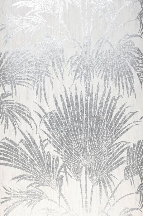 Carta da parati botanica Carta da parati Lorella argento brillante Larghezza rotolo