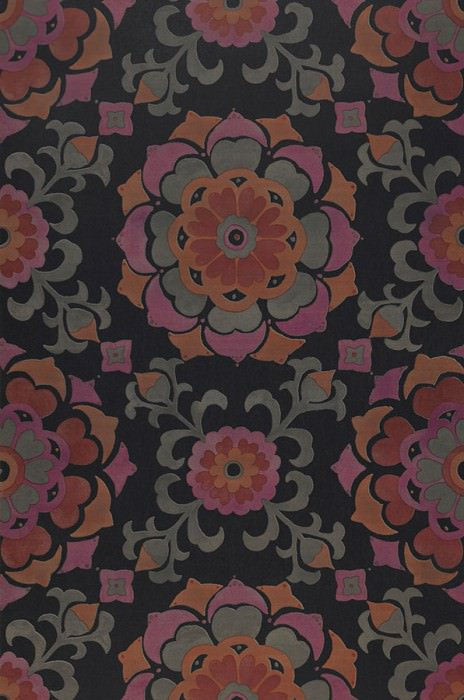 Wallpaper Saskia Matt Stylised blossoms Anthracite Moss grey Orange Red Red violet