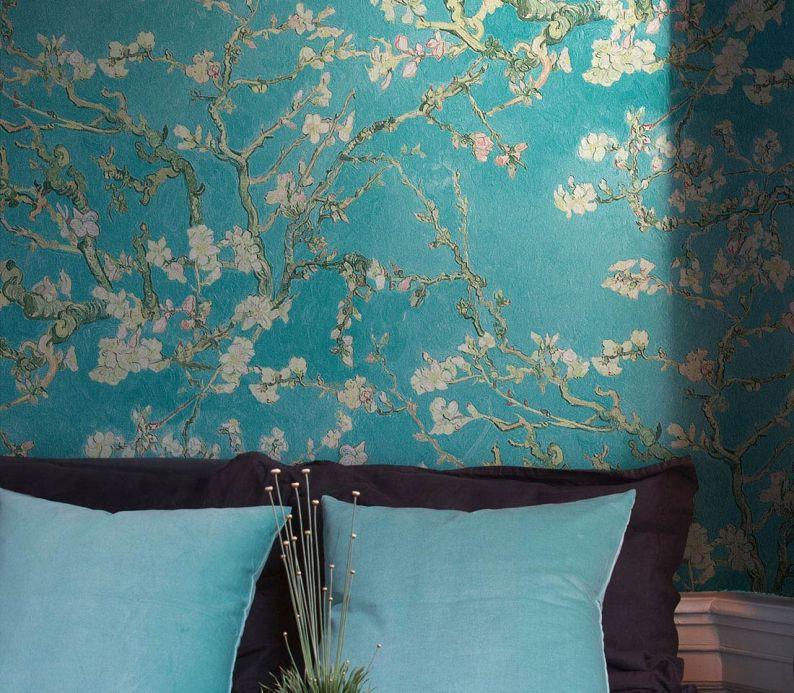 Bedroom Wallpaper Wallpaper VanGogh Blossom turquoise Room View