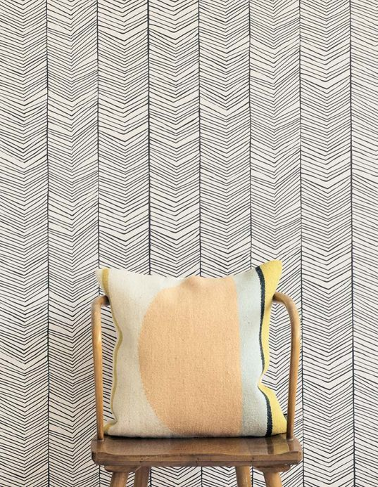 Vintage Wallpaper Wallpaper Herringbone black Room View