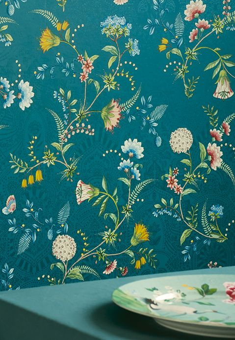 Floral Wallpaper Wallpaper Pomona water blue Room View