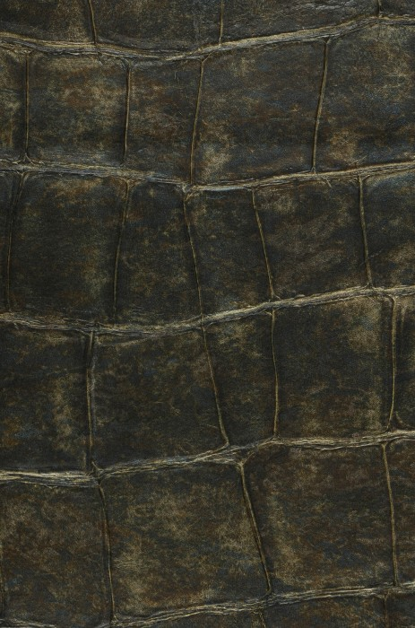 Wallpaper Croco 16 Matt Imitation leather Brown-green Dark green Khaki