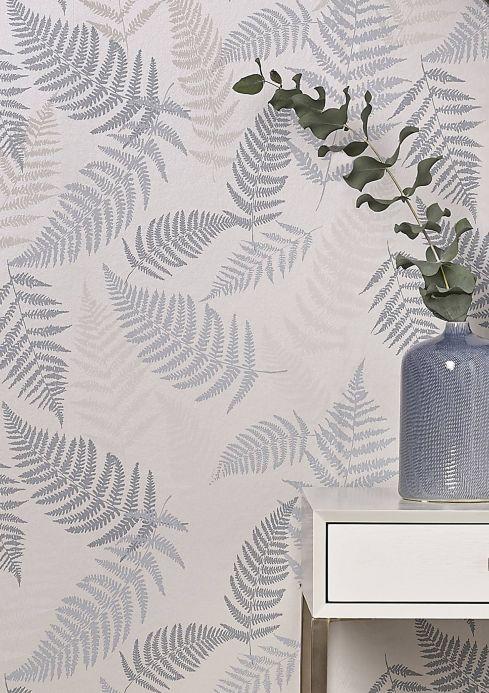 Papel pintado botánico Papel pintado Surine turquesa menta Ver habitación