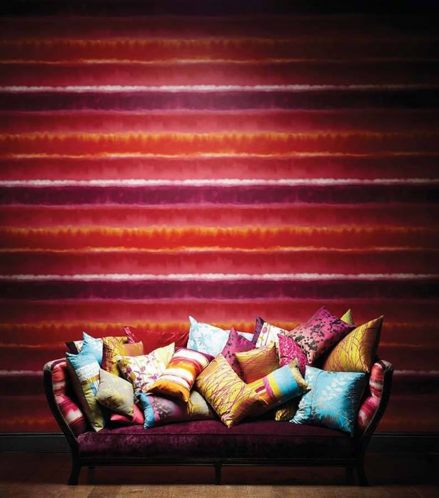 Wallpaper Helios Matt Stripes Cream Orange Red Violet