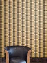 Papier peint Basma Mat Rayures Ocre Or jaune chatoyant Blanc gris Noir