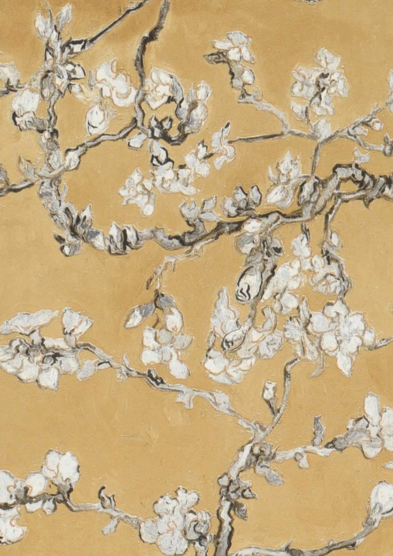 Tapete vangogh blossom ockergelb anthrazit cremeweiss - Meisterwerk tapeten ...